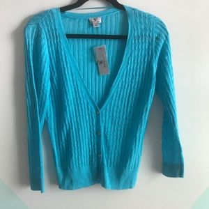 Nwt Worthington deep v cardigan teal aqua sweater
